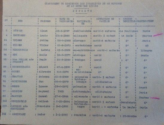 Changement résidence israëlites 25 octobre 25 novembre 1941 [ADLA 1694W25]