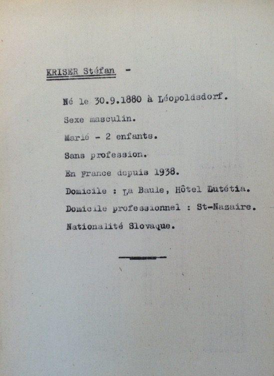 Fiche de Stephan KRISER (Fichier Préfecture) [ADLA 1694W25]