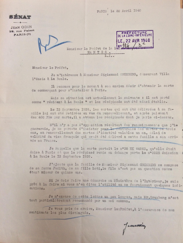 Lettre du sénateur ODIN au Préfet 20 avril 1940 [ADLA 4M920]
