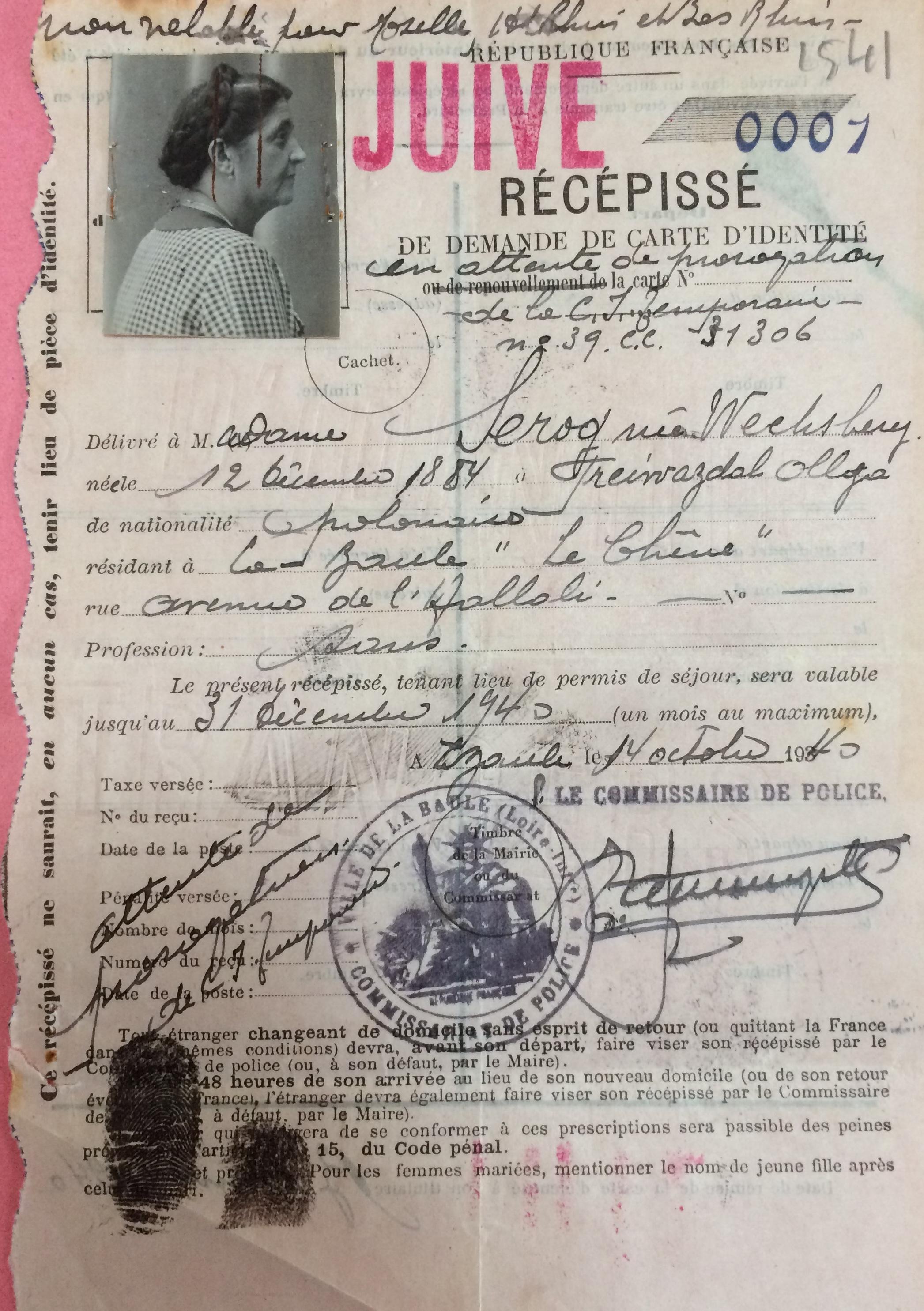 Dossier d'étranger d'Olga SEROG (ADLA 4M921]