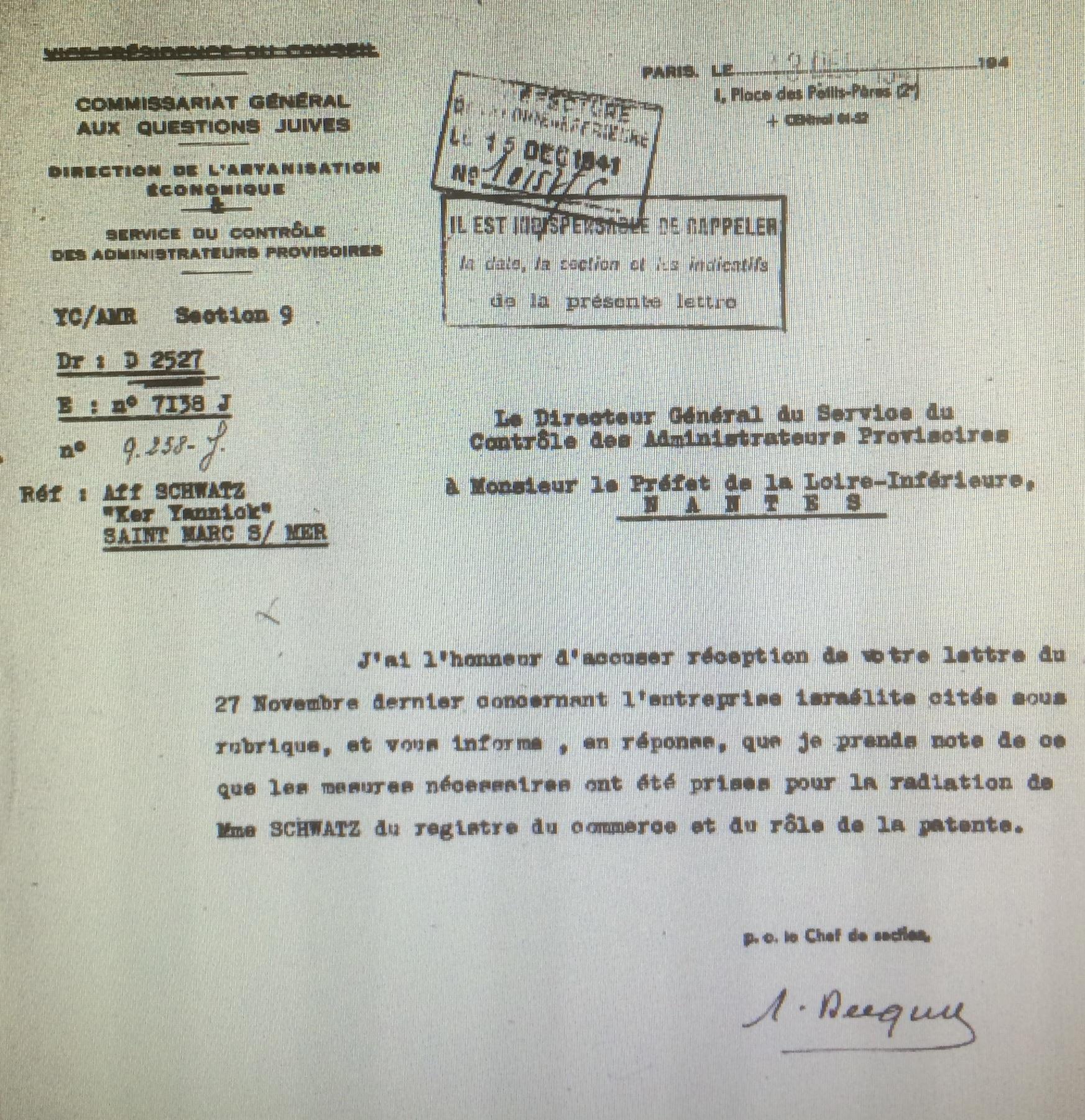 Lettre du Service de Contrôle des Administrateurs Provisoires à la Préfecture de Nantes du 13 décembre 1941 [AN AJ/38/4598 dossier n°2527]