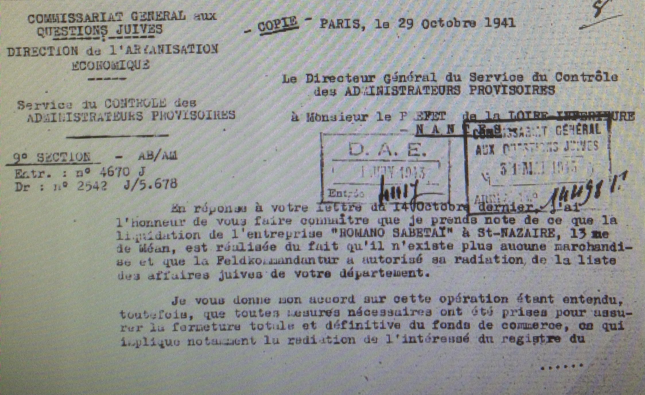 Dossier d'aryanisation du Commissariat général aux Questions Juives [AN, AJ38/4601 dossier n°9890, consulté sur microfilm]