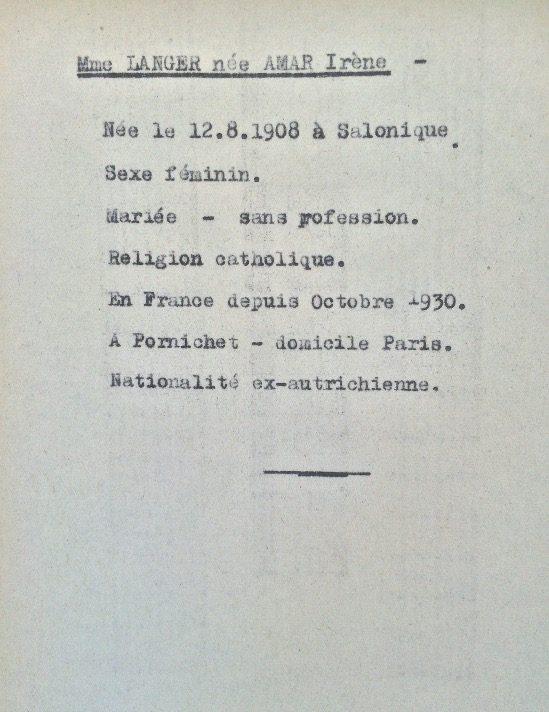 Fiche de Irène LANGER née AMAR (Fichier Préfecture) [ADLA 1694W25]