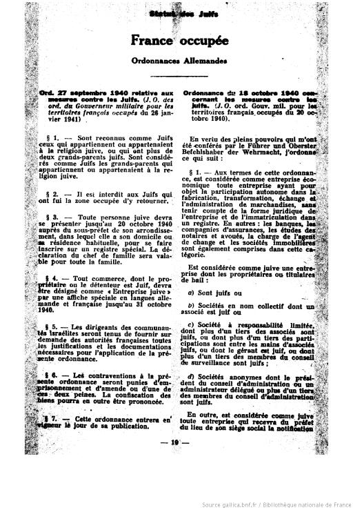 ordonnance 27 septembre 1940