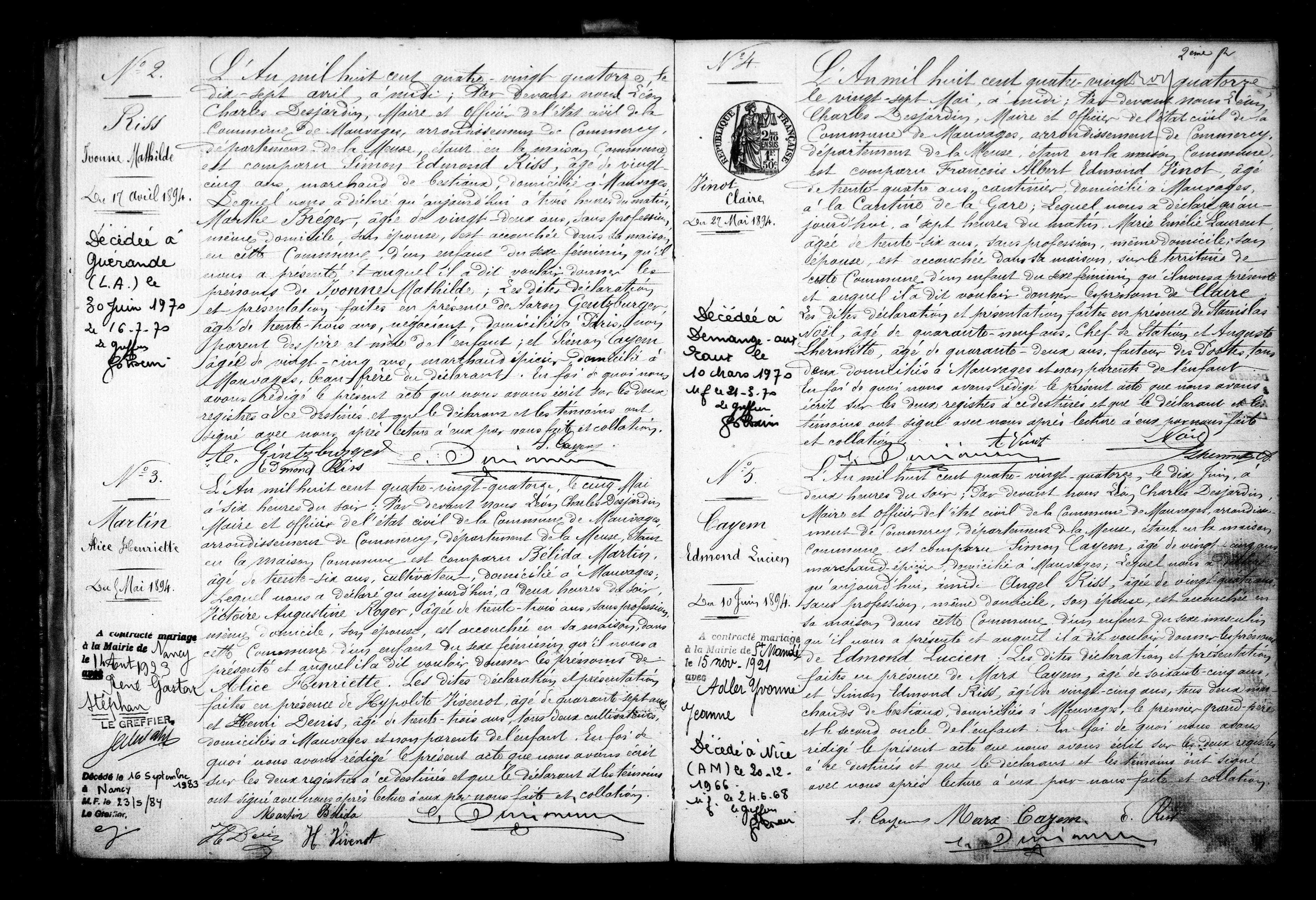Yvonne RISS Acte Naissance [Archives départementales de la Meuse, en ligne]