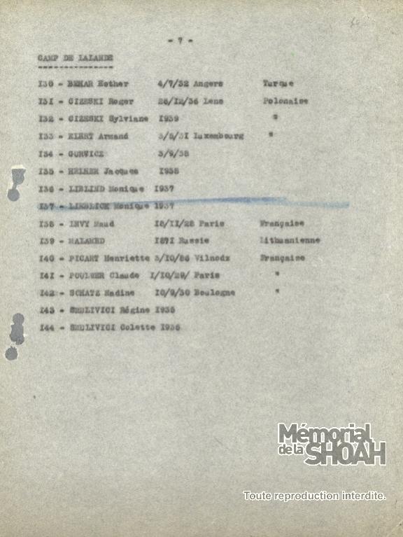 Liste convoi numéro 35 [CDJC, Mémorial de la Shoah, en ligne]
