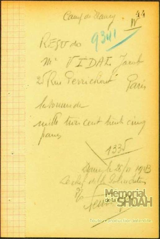 Carnet de Fouilles Camp de Drancy [CDJC, Mémorial de la Shoah, en ligne]