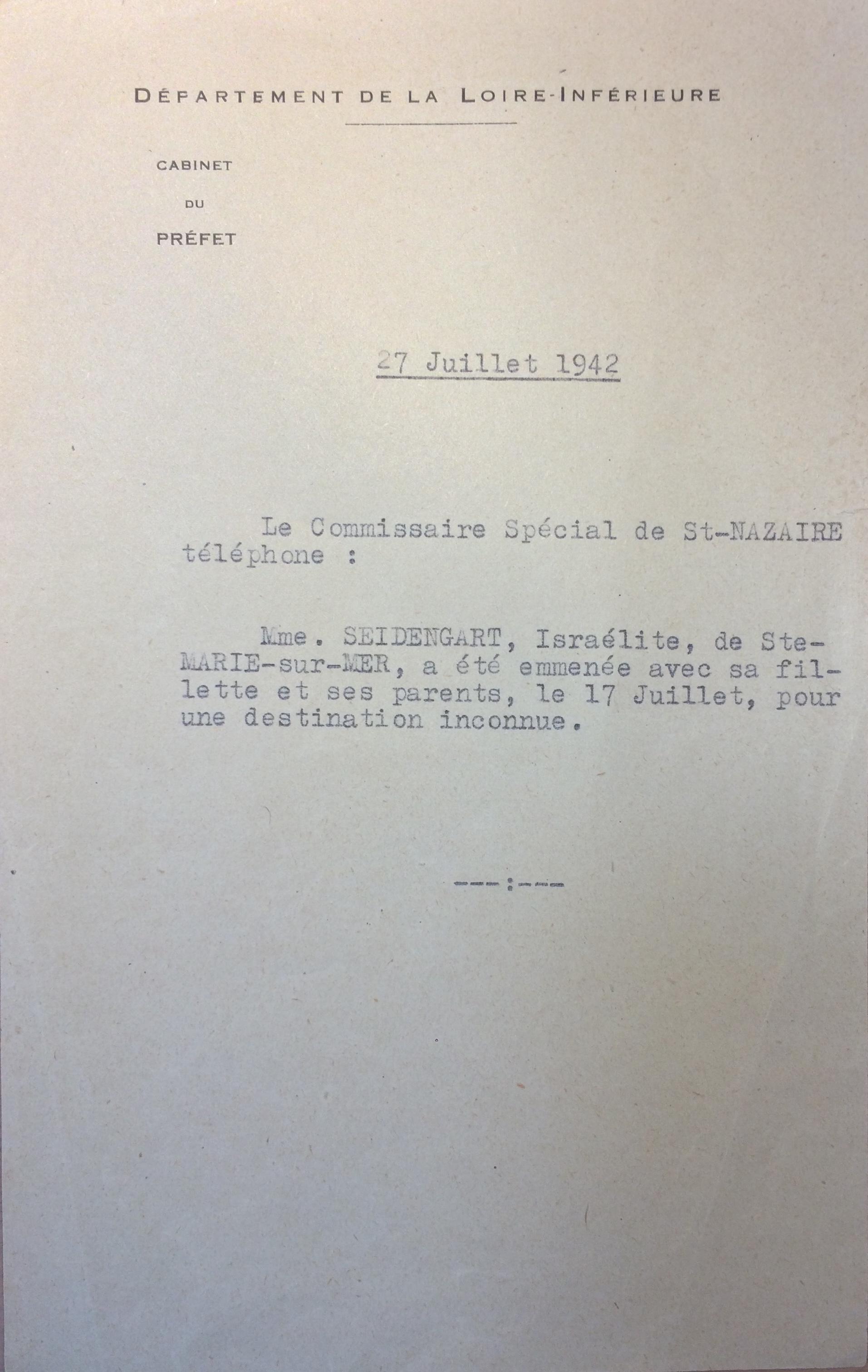Retranscription message téléphonique du commissariat spécial de Saint-Nazaire à la Préfecture de Nantes 28 juillet 1942 [ADLA 1694W25]