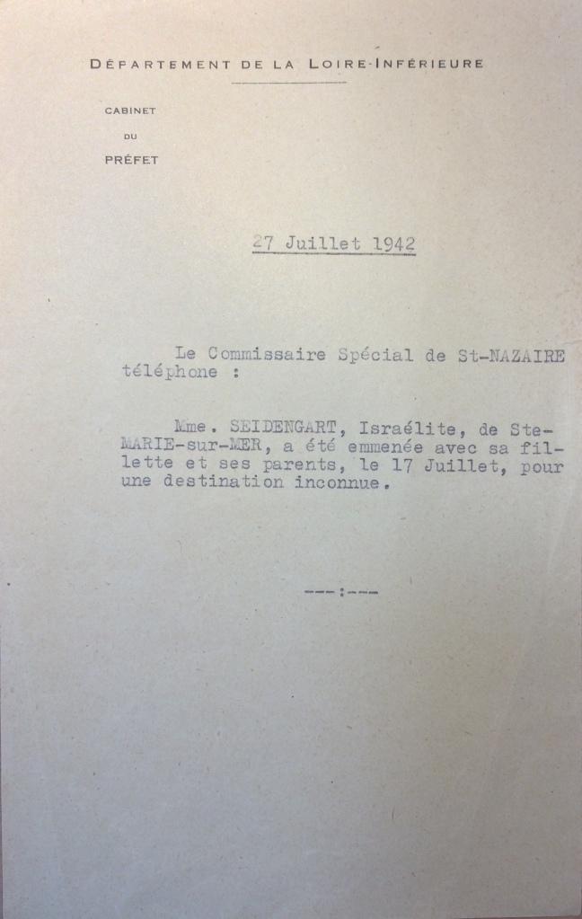 Note d'un message téléphonique émanant du commissariat spécial de Saint-Nazaire à la Préfeture de Loire-Inférieure 27 juillet 1942 [ADLA 1694W25]