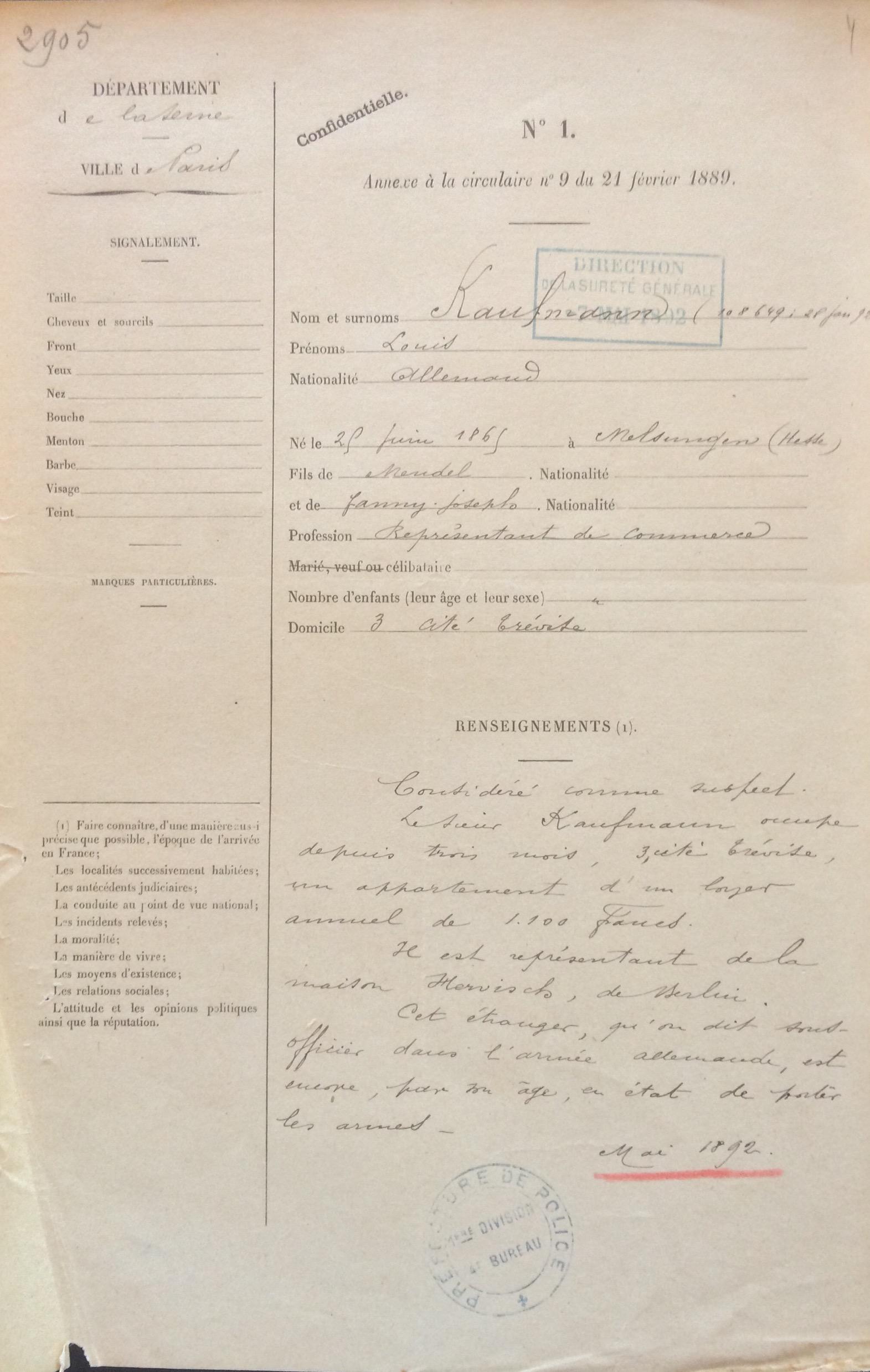 Dossier de Louis KAUFMANN [AN 19940457/0065]