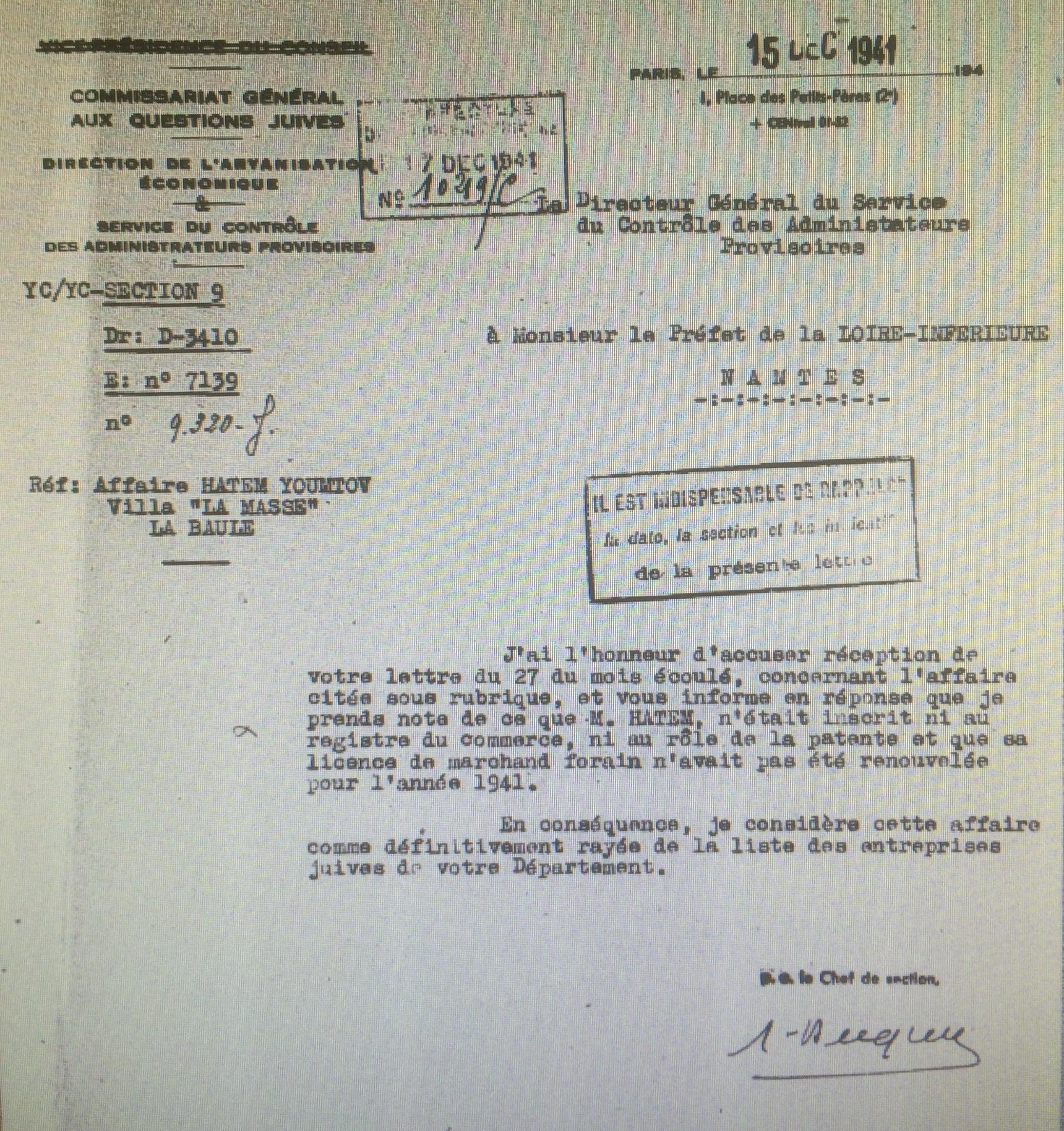 Dossier d'aryanisation HATEM Youmtov, AN AJ38/4598 dossier n°2535