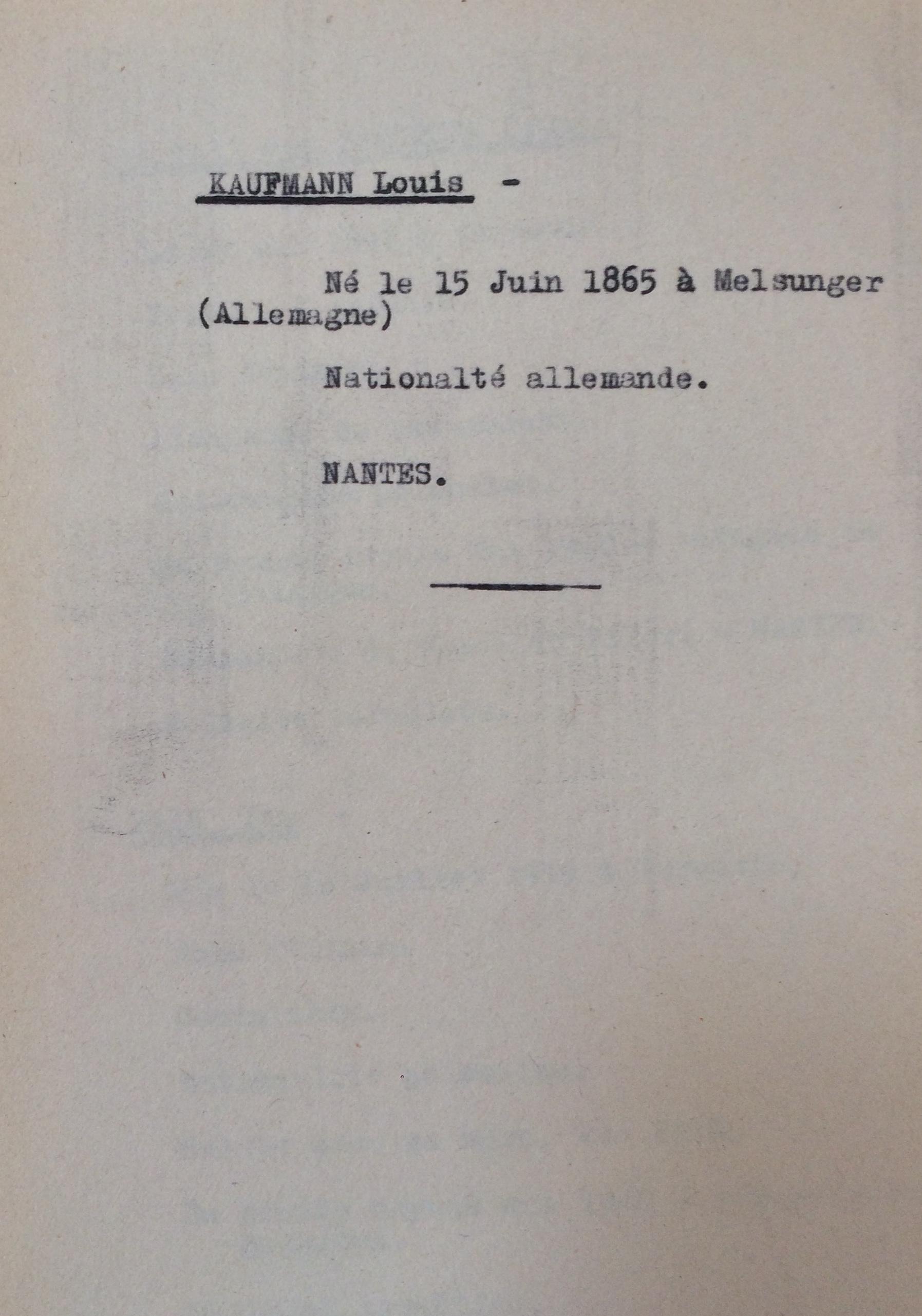 Fiches Allemands Slovaques Autrichiens Polonais [ADLA 1694W25]