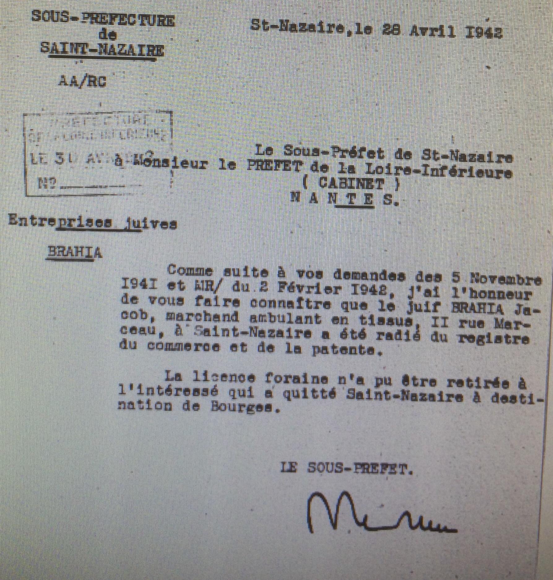 Courrier Sous-préfet/Préfet 28 avril 1942 [CGQJ, AJ38/4600 dossierr n° 9550]