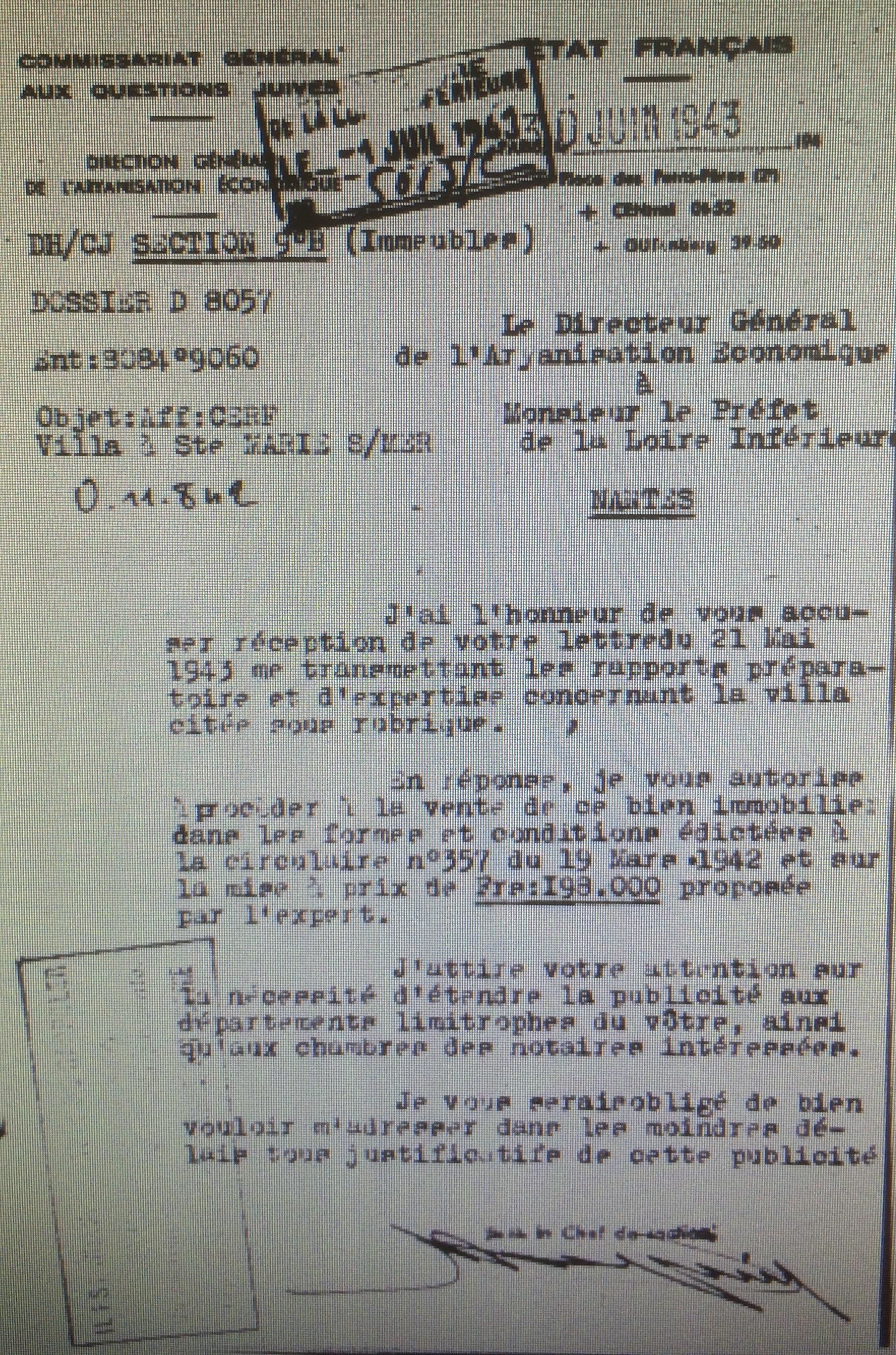 Lettre du CGQJ au Préfet de Loire-Inférieure 30 juin 1943 [AN AJ38/4599 dossier n°8057]