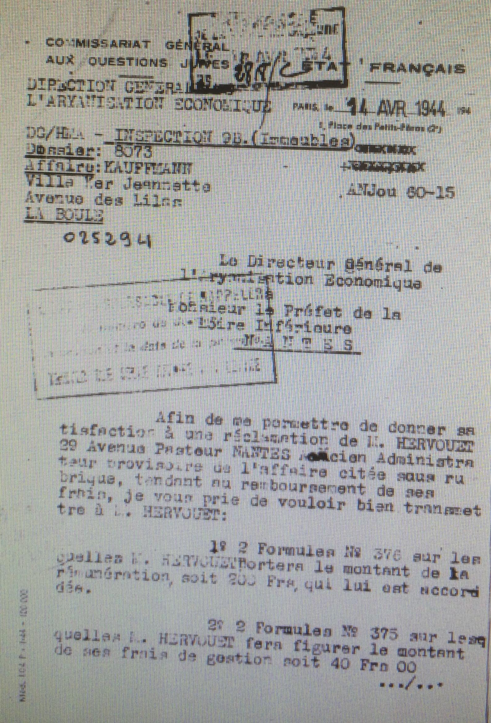 Dossier d'aryanisation KAUFMANN Louis [CGQJ, AN AJ38/4600 dossier n°8073]