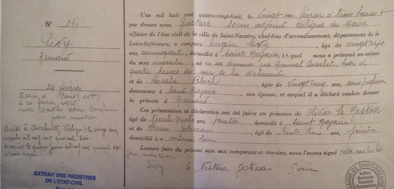 Acte de naissance LEVY Armand [Archives Municipales Saint-Nazaire]