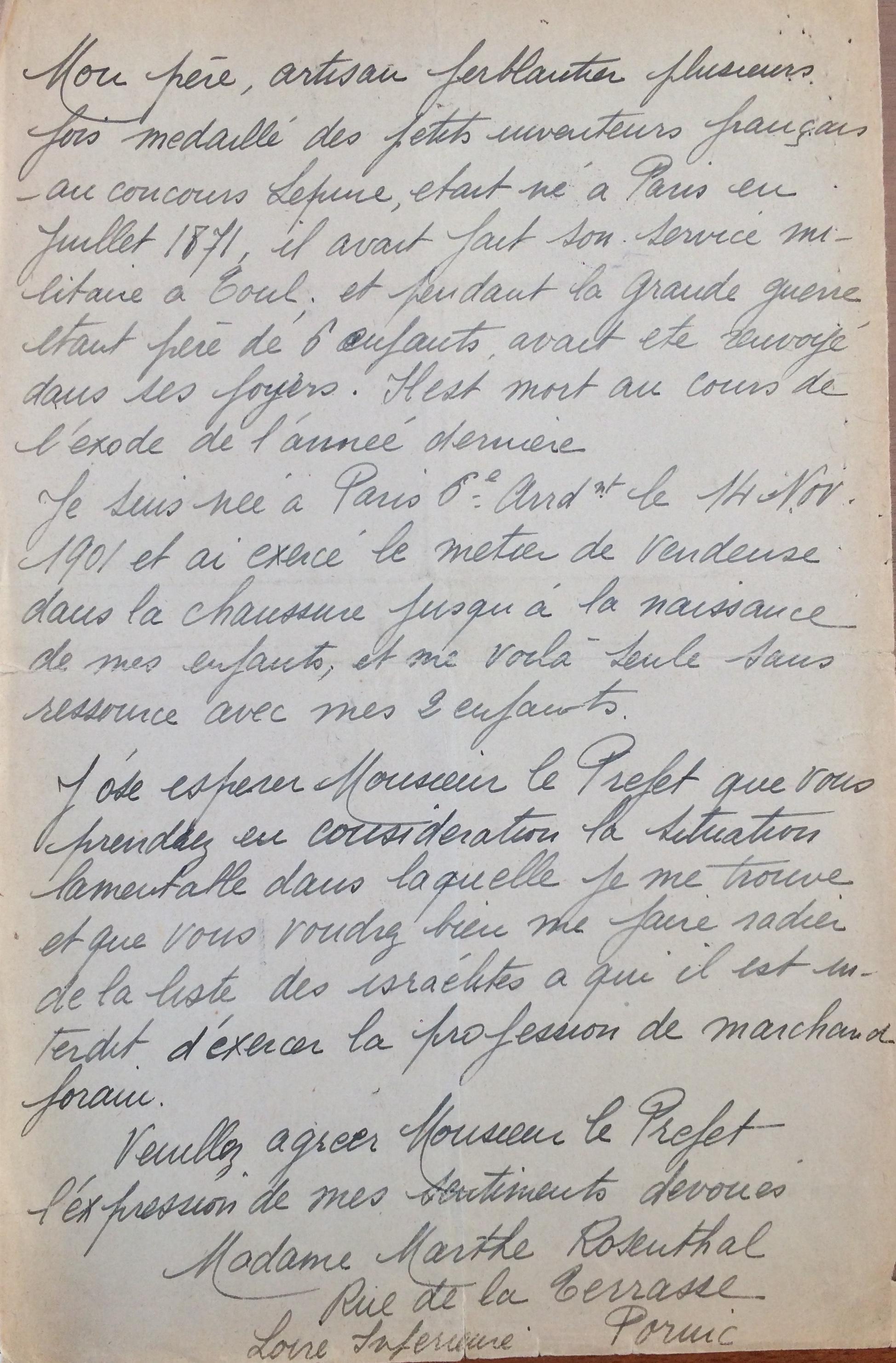 Courrier de Marthe ROSENTHAL au Préfet de Loire-Inférieure, sans date [ADLA 1694W21]