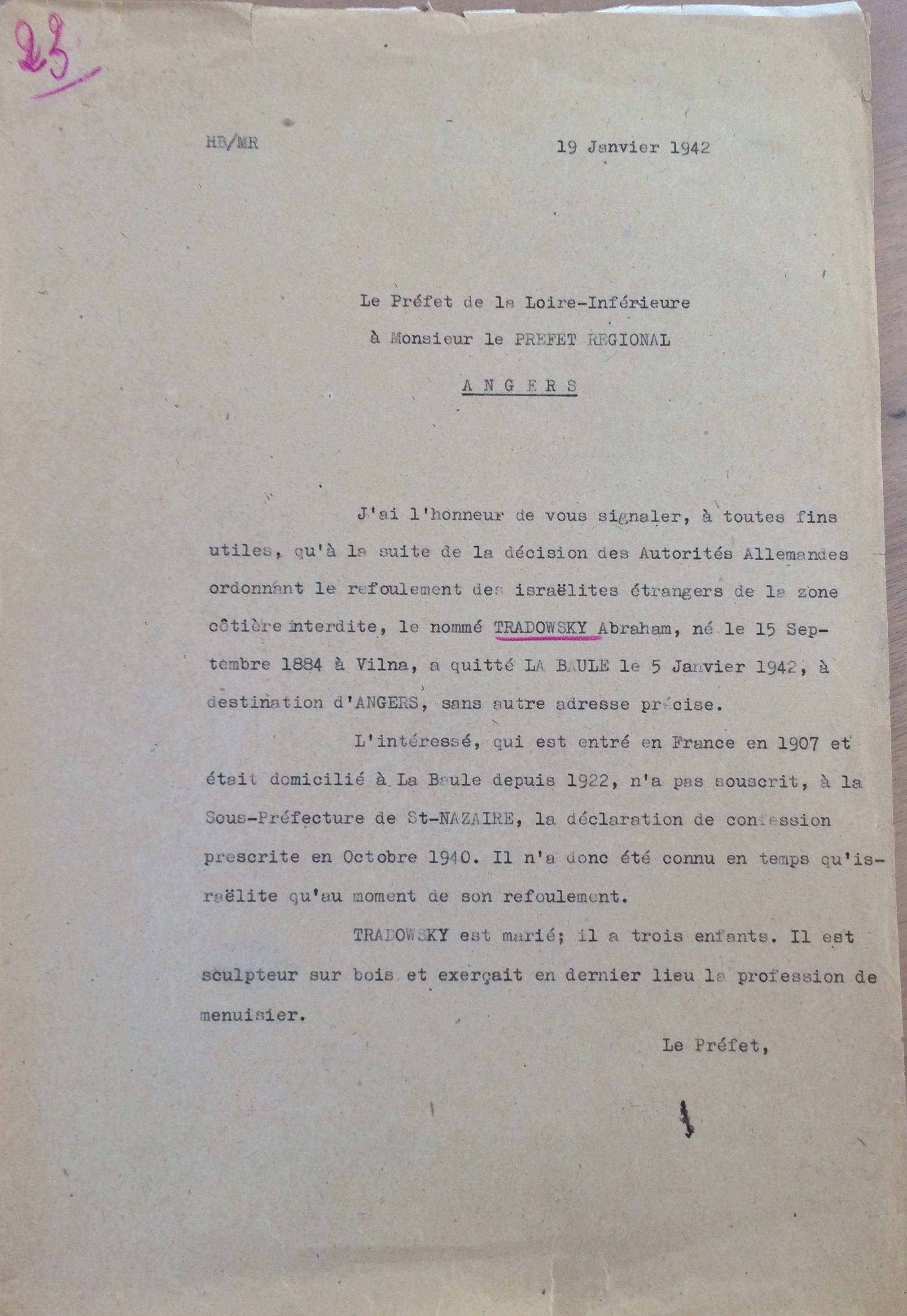 Courrier 1942 TRADOUNSKY