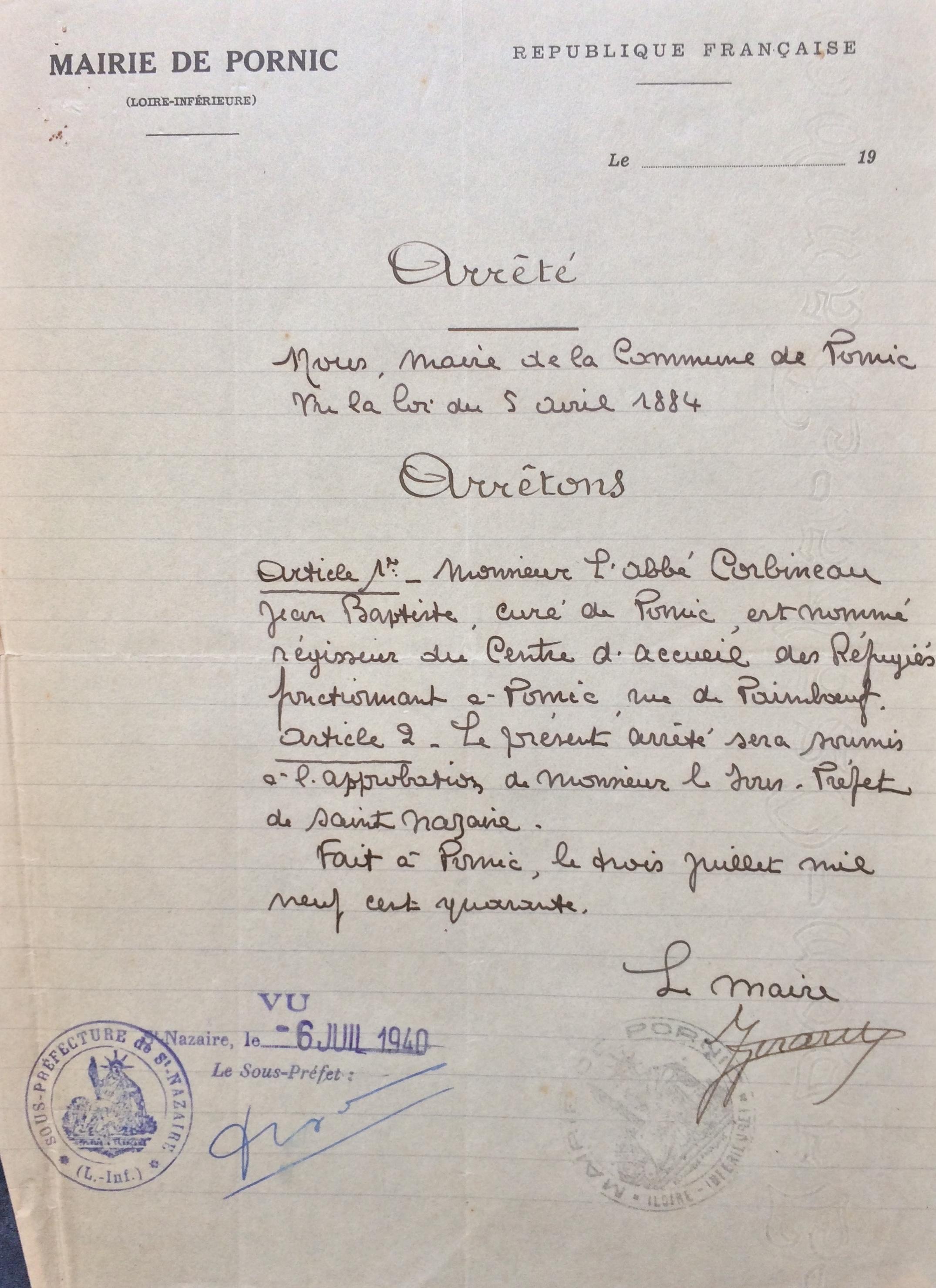 Bureau de bienfaisance Abbé Corbineau [Archives Municipales de Pornic, D2]