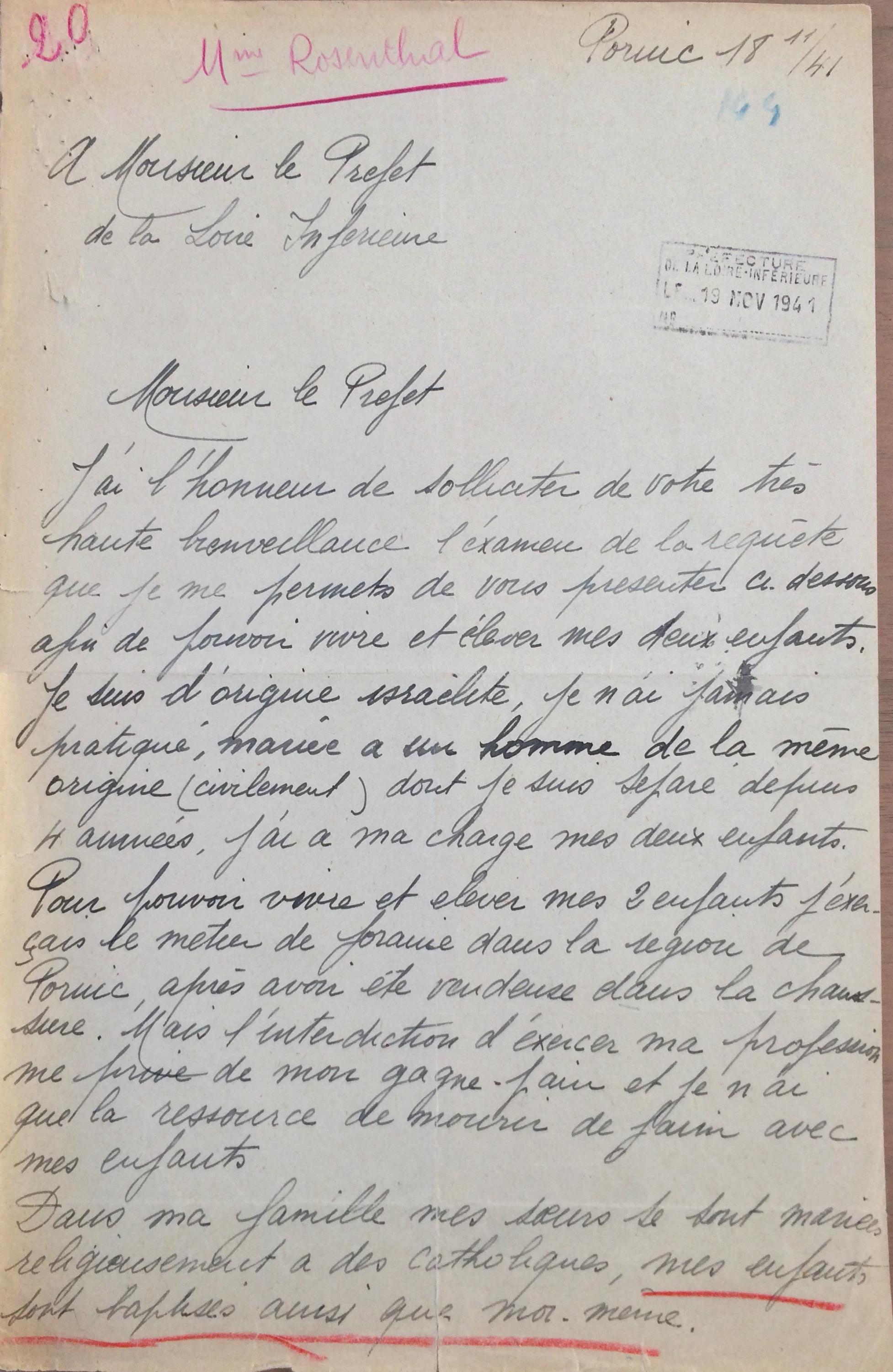 Lettre de marthe ROSENTHAL au Préfet de Loire-Inférieure 18 novembre 1941 [ADLA 1694 W 21]