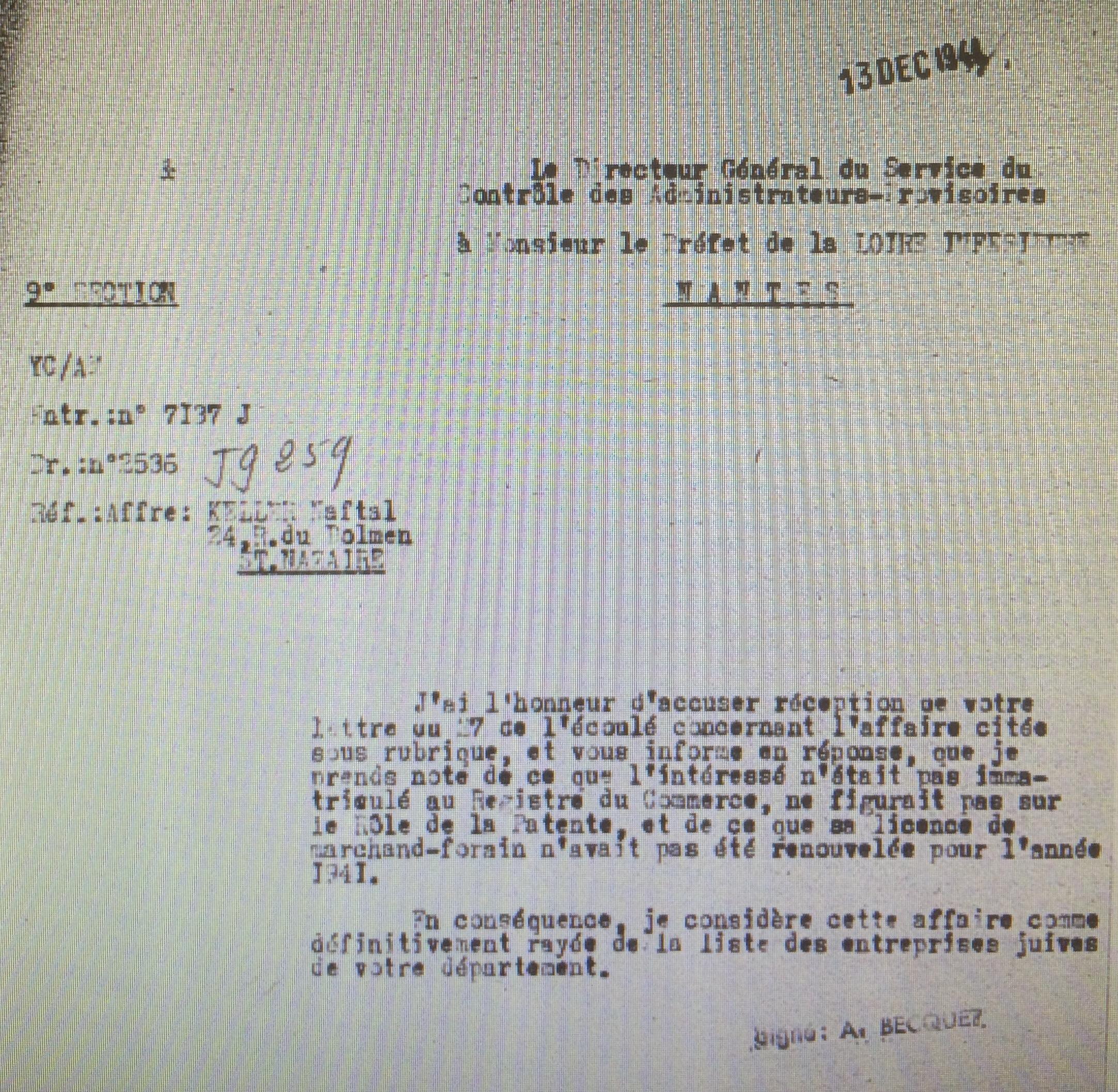 Dossier d'aryanisation KELLER Naftali [AN AJ38/4600 dossier n°9552]