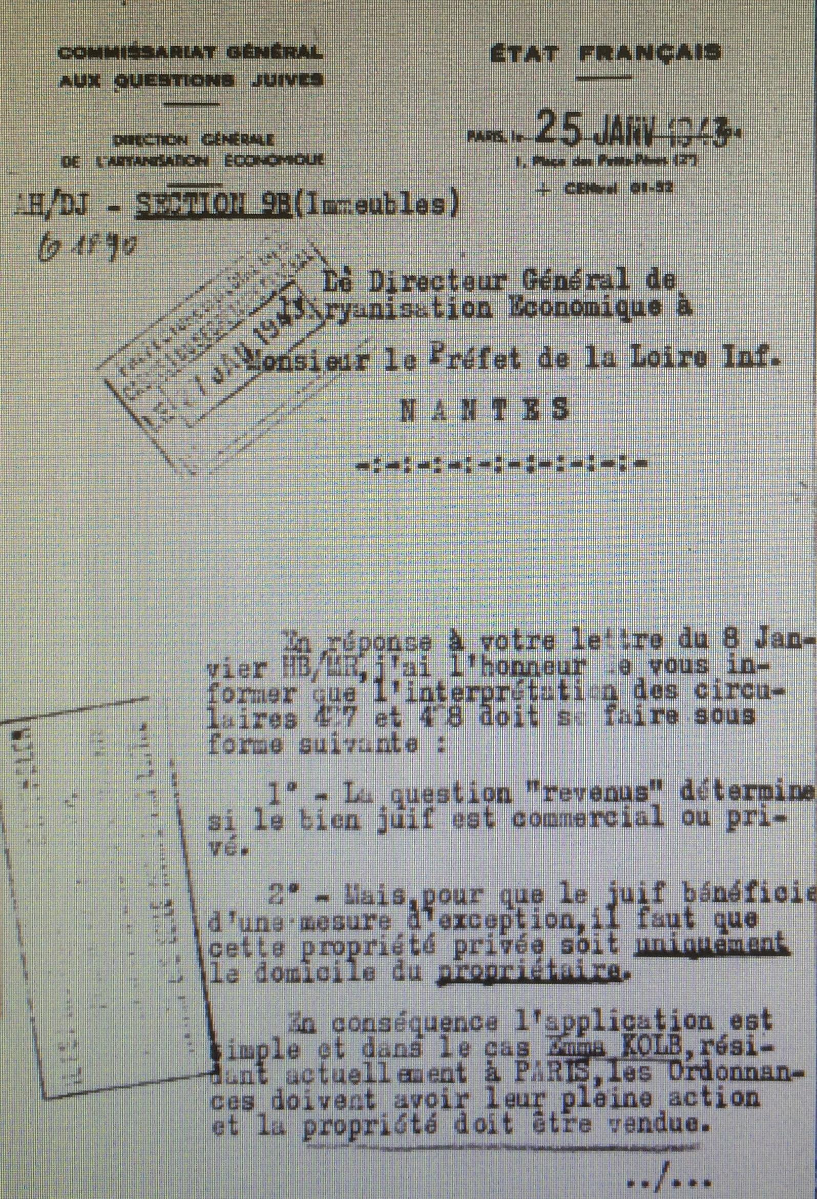 Dossier d'aryanisation Commissariat Général aux Questions Juives Emma KOLP [AN, AJ38/4599 dossier n°7651]