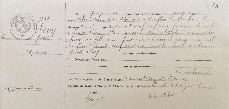 Acte de reconnaissance de Clémence LEVY [Archives Municipales de Saint-Nazaire]