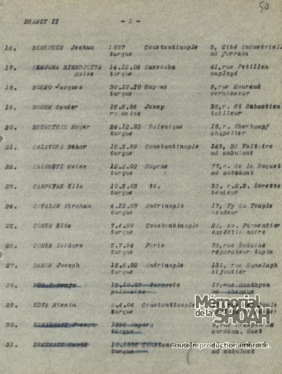 Liste convoi 23 [CDJC, Mémorial de la Shoah, en ligne]