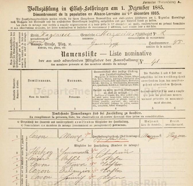 Recensement 1885 [Archives Départementales du Bas-Rhin, en ligne]