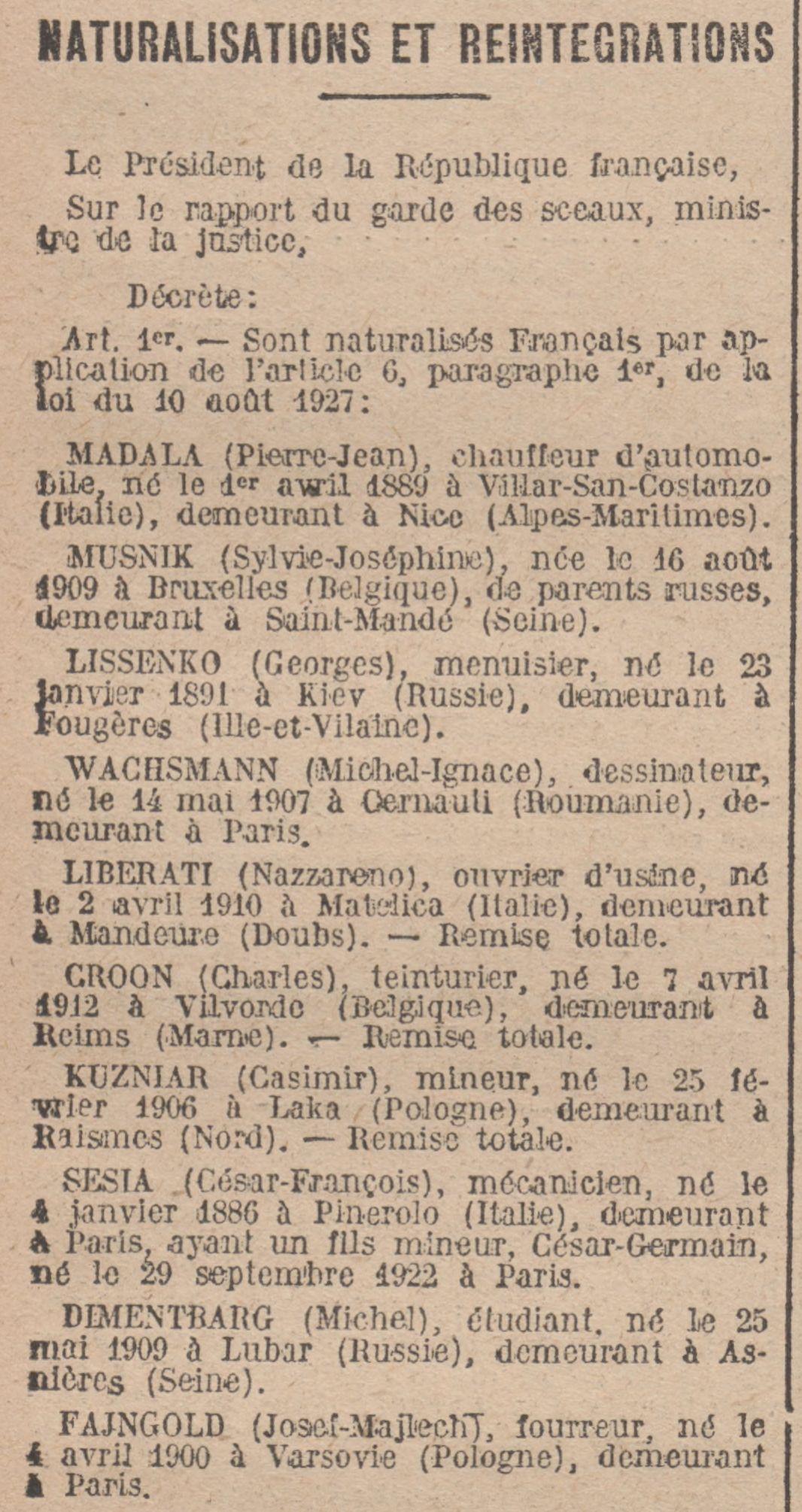 Journal Officiel de la République Française du 08 novembre 1931