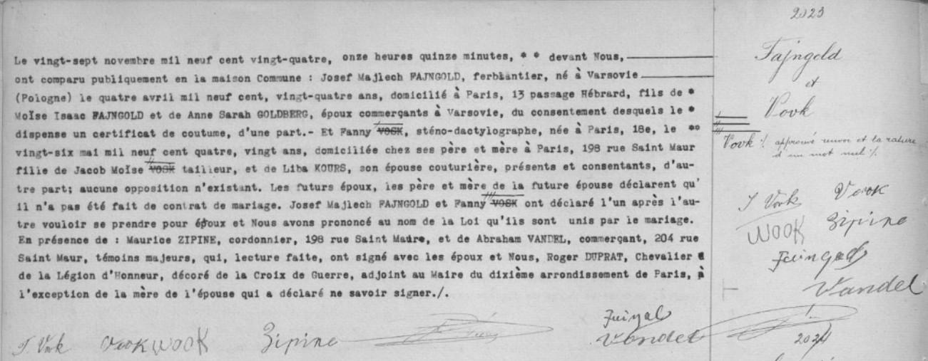 Acte mariage FAJNGOLD/VOVK [Archives Mairie de Paris, en ligne]