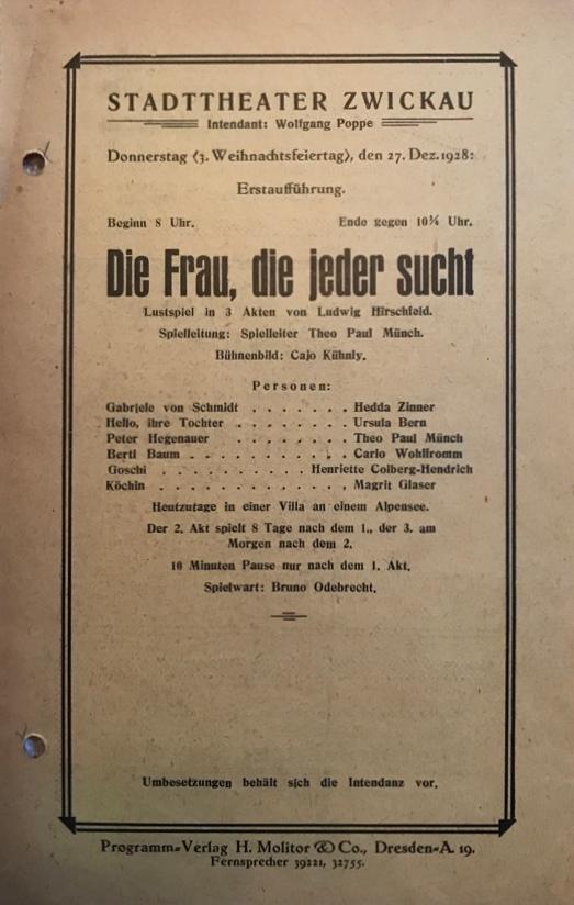 """Theaterprogramm: """"Die Frau, die jeder sucht"""" (1928)"""
