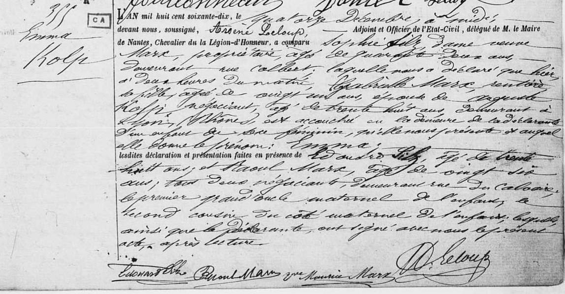 Acte naissance Emma KOLP [Archives Marie de Nantes, 6ème canton, 1E1248]
