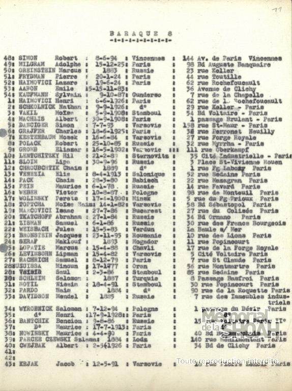 Extrait liste convoi 35 Pithiviers Auschwitz [CDJC, Mémorial de la Shaoh, en ligne]