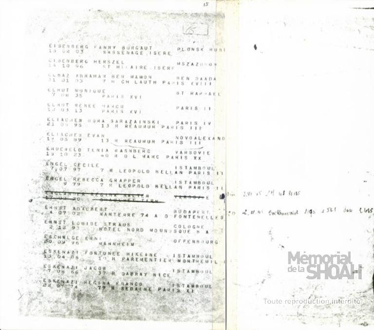 Liste convoi 76 [CDJC, Mémorial de la Shoah, en ligne]