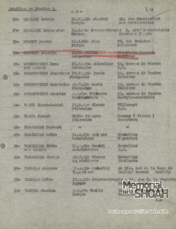 Liste convoi 32 [CDJC, Mémorial de la Shoah, en ligne]