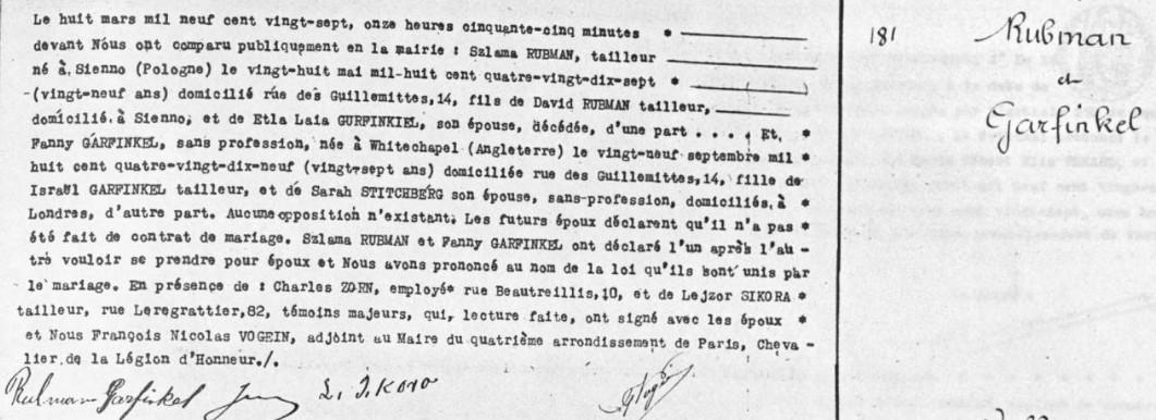 Acte mariage RUBMAN/GARFINKEL [Archives Mairie 4ème arrondissement 4M 282_A ]