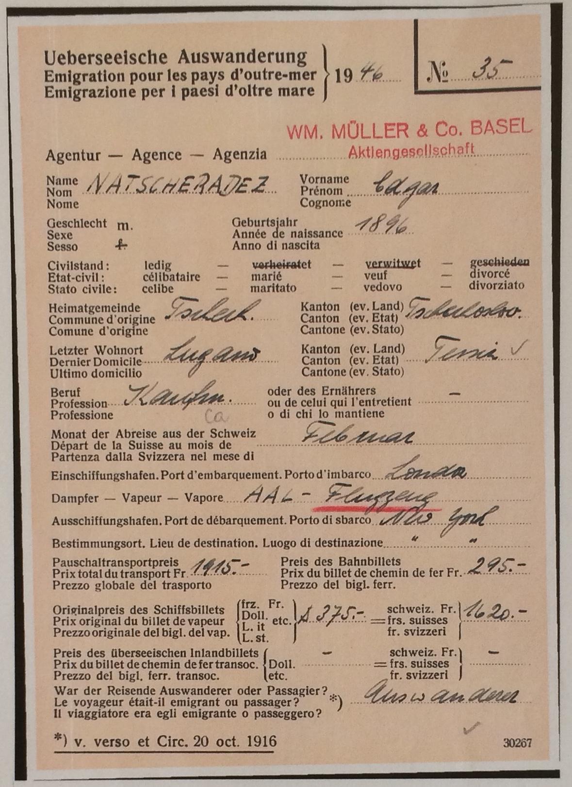 Récépissé de paiement pour le vol Londres New York 1946 © collection particulière