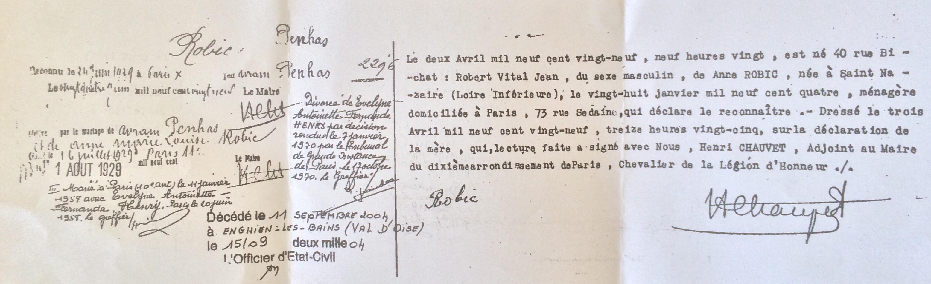 Acte de naissance de Robert PENHAS [Archives Ville de Paris, Etat Civil]