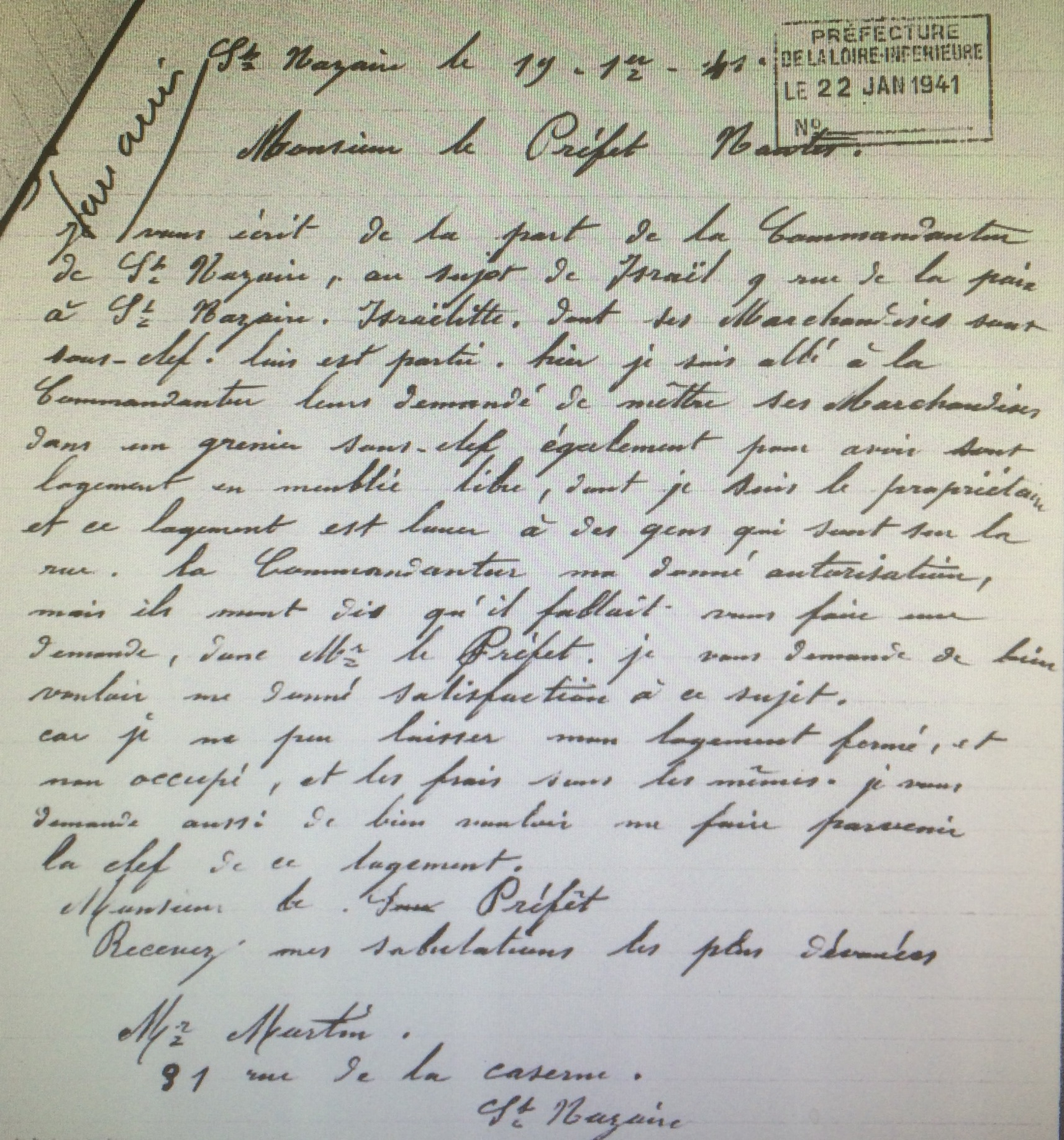 Lettre de Monsieur MARTIN 19 janvier 1941 [AN AJ38/4598 dossier n°2534]