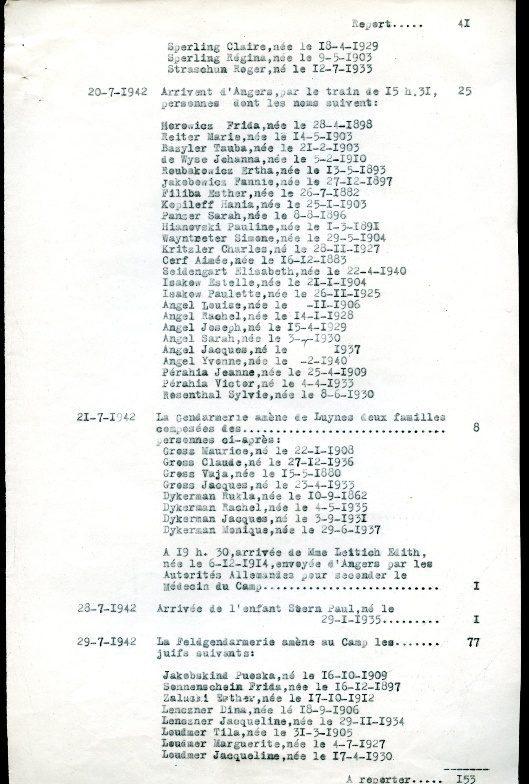 Liste entrées/sorties Camp de la Lande [Archives Départementales de l'Indre-et-Loire, 120W18]