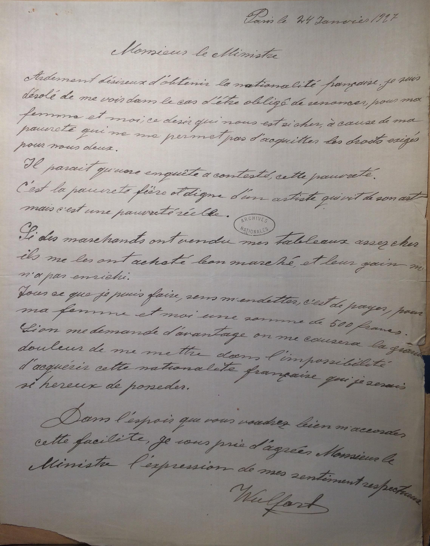Lettre de Max WULFART, 24 janvier 1927 [ AN, 23444X25]