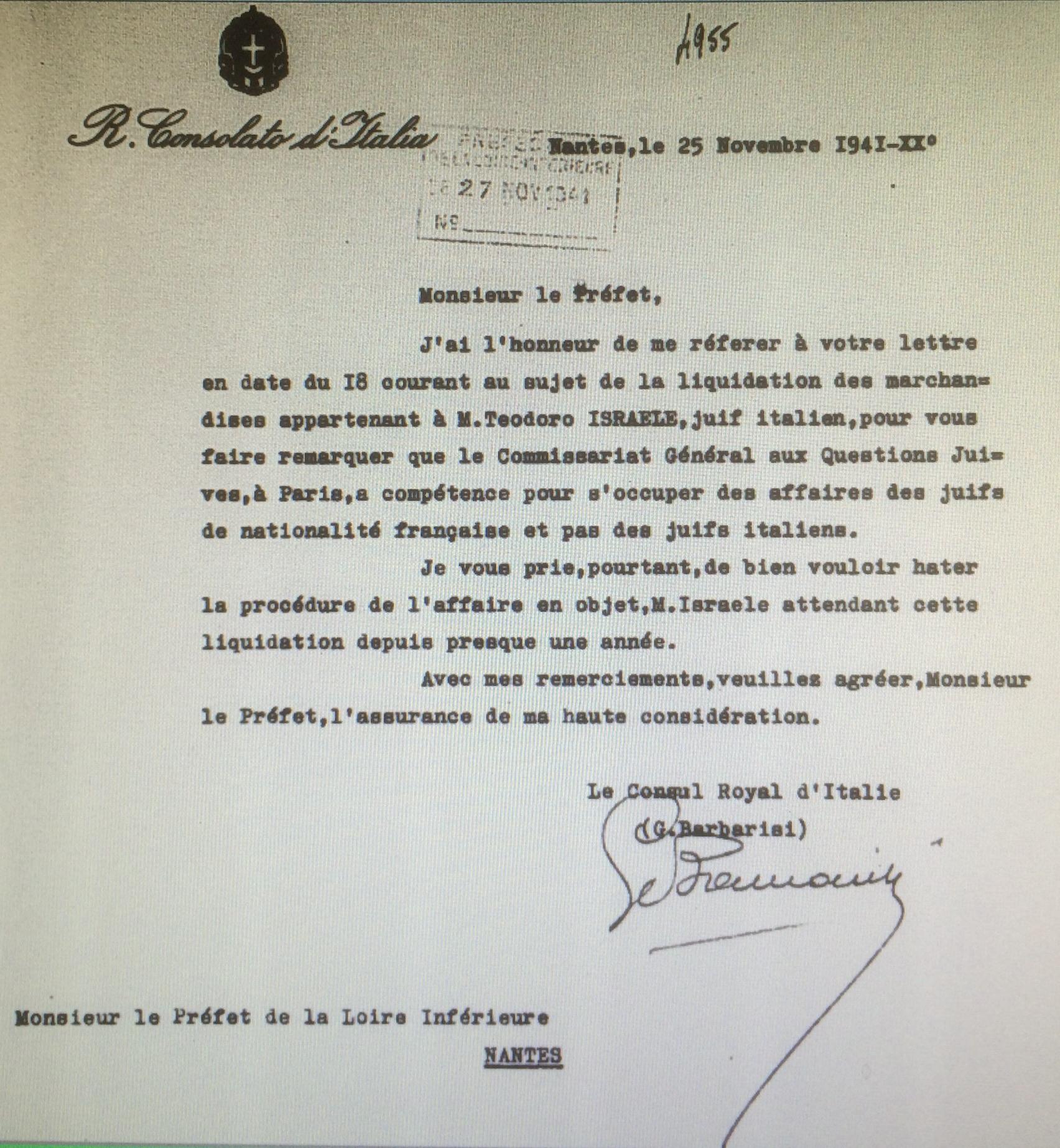 Courrier Consulat d'Italie 25 novembre 1941 [AN AJ38/4598 dossier n°2534]