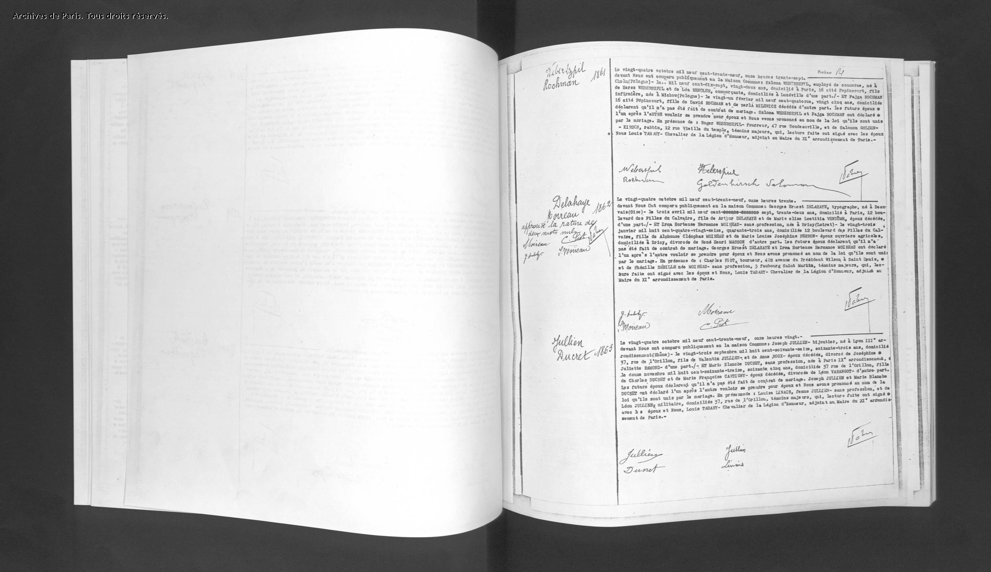 Acte mariage WEBERSPIEL/ROCHMAN [Archives de Paris, Etat civil, 11M581, en ligne]