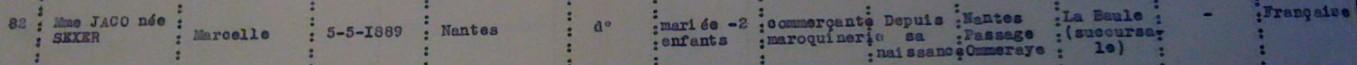 Extrait liste dactylographiée recensement Saint-Nazaire 08 novembre 1940 [ADLA 1694W25]