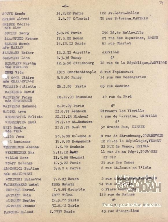 Liste convoi 48 [CDJC, Mémorial de la Shoah, en ligne]