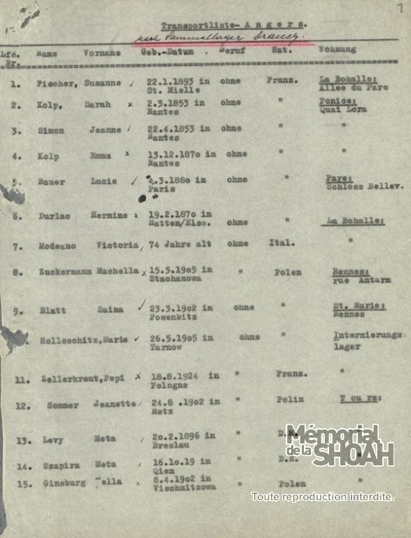 Liste convoi numéro 8 20 juillet 1942 [CDJC, Mémorial de la Shoah, en ligne]