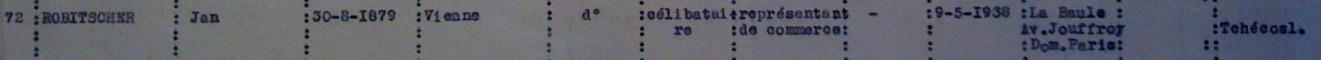 Extrait liste dactylographiée du recensement 08 novembre 1940 [ADLA 1694W25