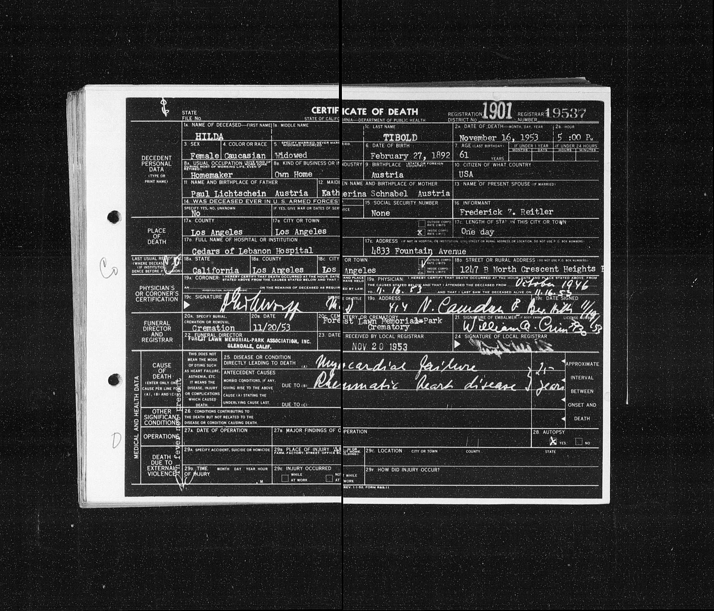 Certificat de décès de Hilda TIBOLD