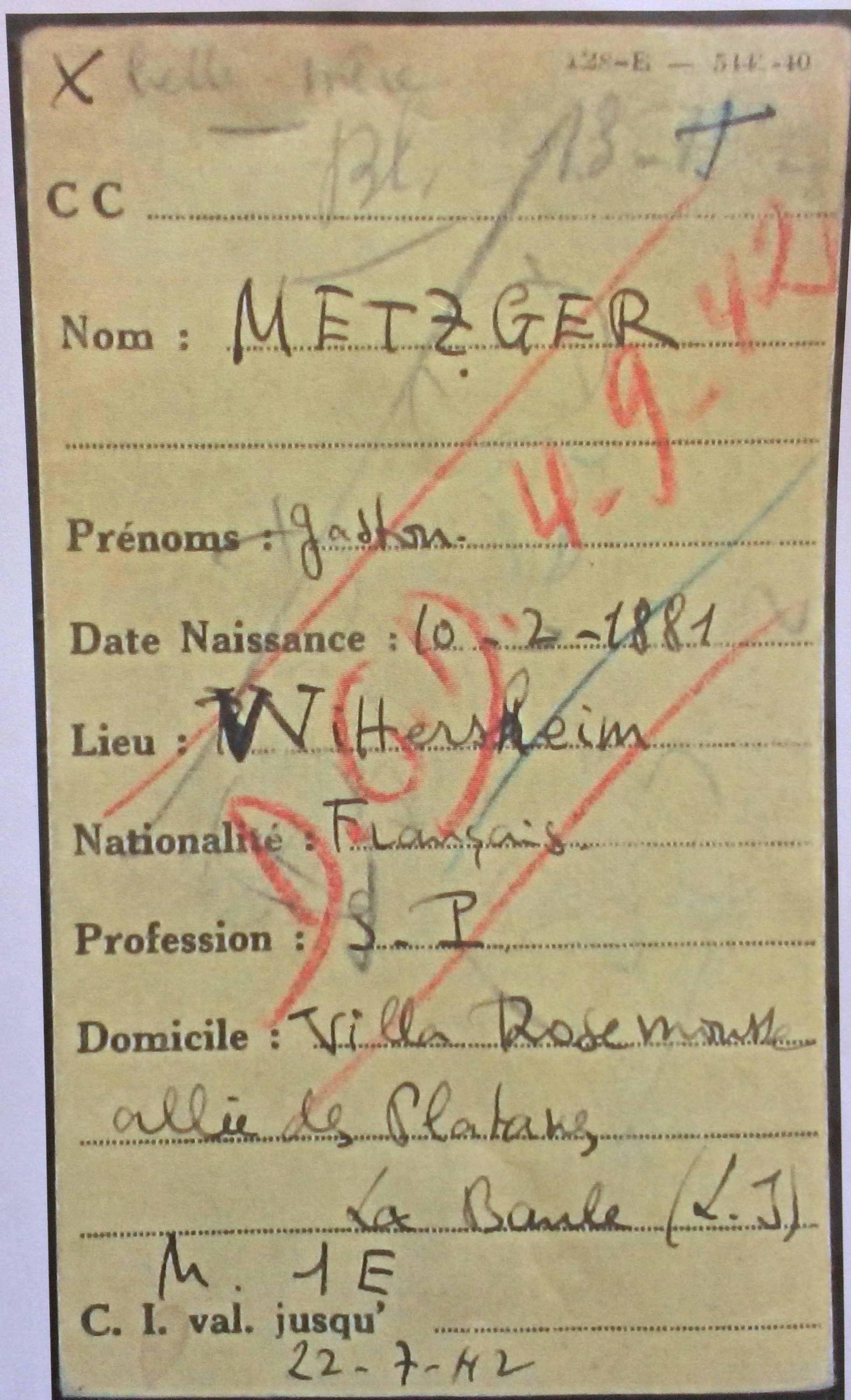Fiche d'internement de Gaston METZGER [Archives Nationales F/9]